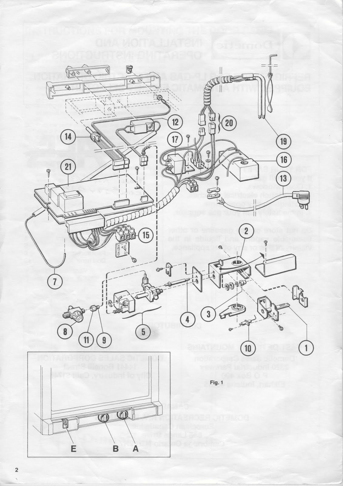 1983 Fleetwood Pace Arrow Owners Manuals: Dometic Refridgerator RM1303 operation manual